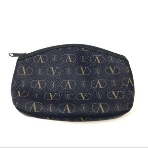 Vintage Valentino Logo Canvas Zippered Small Pouch